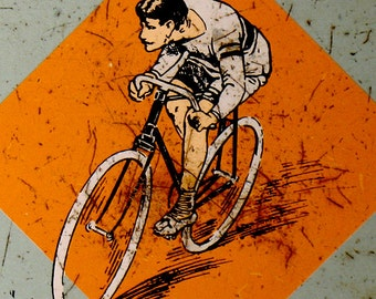 Van Melle's Toffees Advertising Tin-Bicycles - Olympic Games Amsterdam 1928 - Vintage Art Deco Tin - Cycling, Javelin, Rowing - Orange