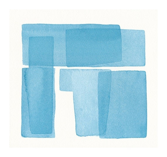 soft architecture watercolor turquoise blues original watercolor painting
