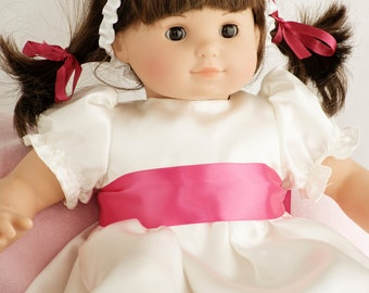 Bitty Baby Doll Clothes Fancy Cream and Coral Rose Satin Dress with Flower Headband - Now with CUSTOMIZABLE COLOR CHOICES