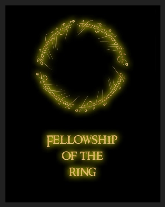 Lord of the Rings 'Fellowship of the ring' retro movie poster - 8x10