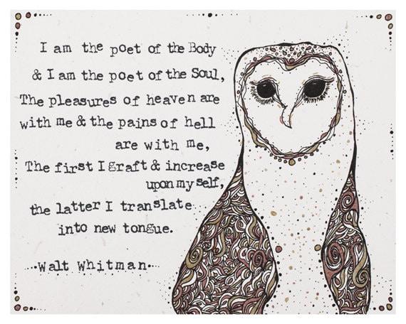 Original Illustration Walt Whitman Quote by ...