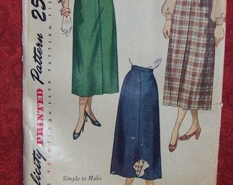Simplicity Skirt Pattern, Vintage 50's Simplicity  2624
