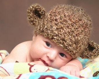 Soft Crochet  Monkey  Hat, photography prop,0 to 3 months, crochet hat, Monkey hat