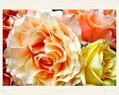 Peach Pink and Pale Yellow Rose Bouquet handmade photo note card