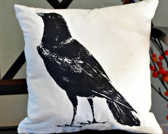 The Raven, Pillow Cover, Print on Muslin, 16x16