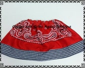 Bandana Skirt  Red with Black and White Gingham  for all the Little Cowgirls - All Colors and  6 to 24 months, 2 to 6 years