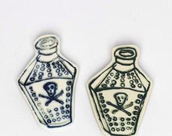 Coffin Shaped Poison Bottle Screenprinted Porcelain Brooch