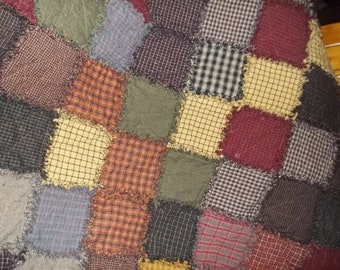 Primitive Rag Quilt Large Throw 60x60