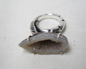 Geode Ring With Sterling Silver Leaf Shank