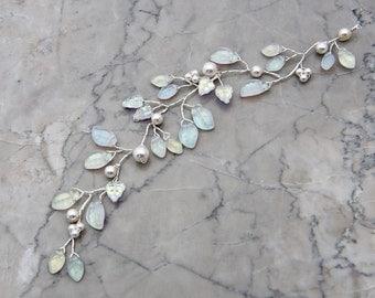White Bridal Hair Vine, Wedding Hair Piece, Leaf Hair Vine, Floral Hair Piece,  Hair Jewelry
