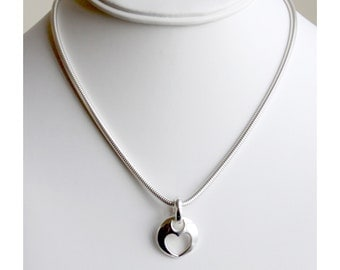 Sterling silver heart pendant on serpant chain