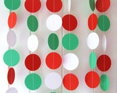 Christmas Garland  Approx 10ft Long, Christmas Decor, Bunting, Photo Prop, Red, White, Green, Italian Wedding Decoration
