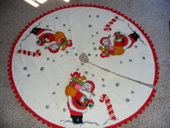 Vintage santa christmas tree skirt sequins by