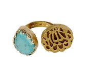 MashaAllah Ring, Gold Plated,Turquoise,  Engraved on Stone, Mashallah Ring