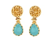 MashaAllah Earrings, Gold Plated, Yellow Backgrounded, Pear Turquoise Stone, Masha  Allah Earrings