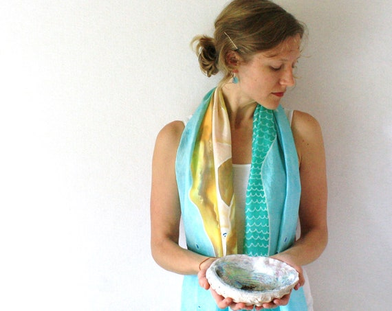 Aqua Silk Scarf - Mermaid - Hand Painted Silk Scarf - Fall Fashion- Underwater Silk Scarf - Back to School