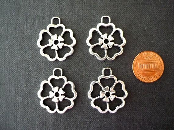 4 pcs Tibetan Antique Silver Tudor Rose Charms - 24mm diameter