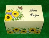 Custom Recipe Box Hand Painted Butterfly Personalized Wood Wedding Sunflower Recipe Card Box 4x6 Kitchen Decor Wedding Bridal Shower Gift