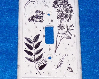 Light Switch Plate Hand Painted Floral Wood Wall Cover Single Victorian Style Crafted Black & White