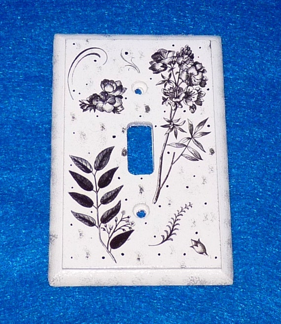 Light Switch Plate Hand Painted Floral Wood Wall Cover Single