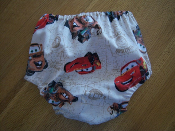 SALE--Baby Boy's Diaper Cover--Cars Print--Custom  Sizes, Adjustable Elastic Waist, Leg Openings--Now 5 Dollars each--3.50 Shipping