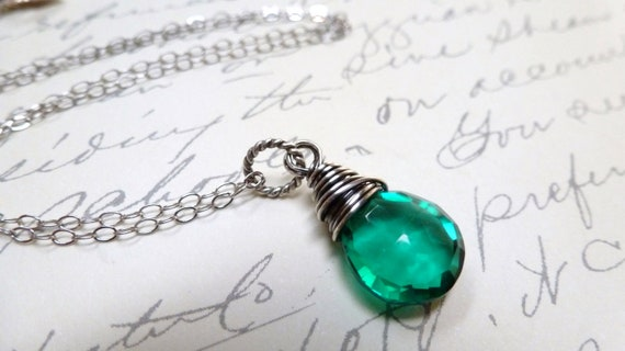 Teal Quartz Necklace / Sterling Silver / Wire Wrapped / SimplyJoli Fashion Jewelry / Faceted Pendant