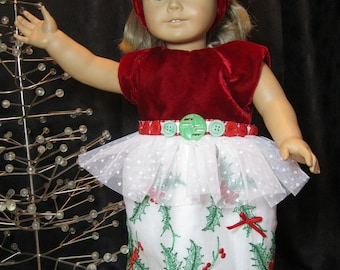 "Red Velvet and Holly dress, matching headband for 18"" dolls, red velvet bodice, vintage buttons, tulle, holly embroidery and bows on skirt"