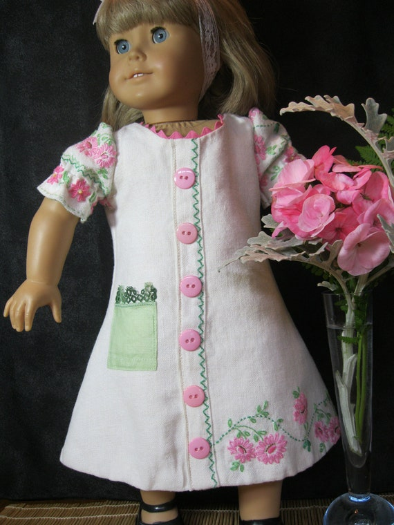 "CLEARANCE PRICE embroidered linen Spring Breeze dress for 18"" dolls like American Girl, ivory with pink flowers and vintage hanky pocket"