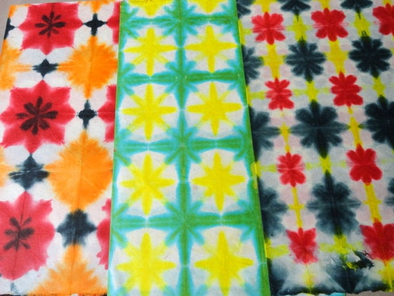 Handmade Paper in Batik Tie and Dye - Set of 3 gift wrapping papers Red, Yellow , Black & Green