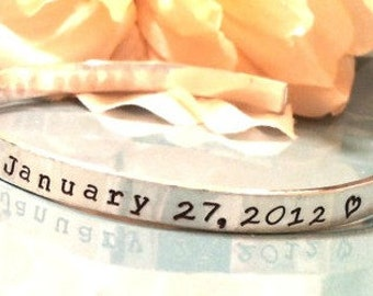 Hand Stamped Cuff Bracelet- Personalized Jewelry - Sterling Silver Mommy Cuff with Baby's Name, Birth Date, Tiny Prints & Birth Info