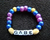 CUSTOM PERSONALIZED Little Boy Stretch Bracelet - cool gift or fun party favors- plastic pony beads  -  fits to 6 inches