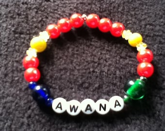 CUSTOM - AWANA Stretch Bracelet - Green Blue Red Yellow - Personalized with AWANA or Your Name