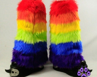 Pawstar RAINBOW STRIPE LEG Warmers You Pic Colors Pastel Neon 6 Tone Furry Fluffies cyber Brite cosplay anime rave boot costume goth 2561