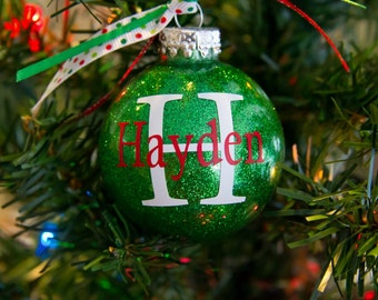 NEW PRICE **Personalized Glitter Christmas Ornament - Great for kids of all ages or the whole family
