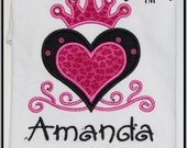Heart Swirly with Crown and Rhinestones Custom Personalized Appliqued Embroidered Shirt