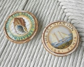 Fridge Magnets Beach Decor Seashell Sailboat Sea Shell Sail Boat Set of 2