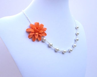 FREE EARRINGS Orange Dahlia Necklace, Orange Flower Necklace, Orange Bridesmaid Necklace, Summer Autumn Jewelry, Fall Wedding