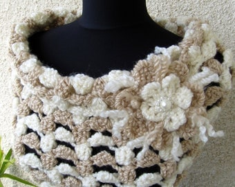 Crochet Cowl PATTERN-Chunky Cowl Scarf With Flower-Elegant Beige Cowl Two Tone-DIY Crafts-Instant Download PDF Pattern No.67-Lyubava Crochet