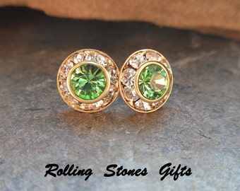 Peridot Earrings, Green and Gold, 9mm Swarovski Studs, Surrounds, Rhinestone Earrings, August Birthstone, Stud Earrings, Birthstone Studs