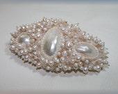 Bead embroidered barrette, pearl barrette, white barrette, bridal barrette