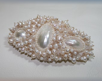 Bead embroidered barrette, pearl barrette, white barrette, bridal barrette