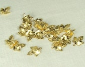 Leaf Charms 20 pieces 12mmx12mm Gold Plated Brass Leaves Craft Jewelry Beading Scrapbooking Supply