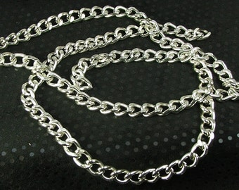 Silver Color Chain Jewelry Supply Large Link (14x10mm) Twisted Curb Aluminum Chain (3 ft.)