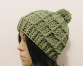 Epic Ribbed Snow Beanie With PomPom- Lettuce - Made to order - Mens and womens hat