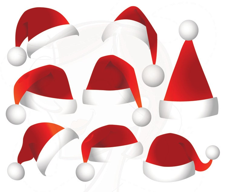 Items similar to santa hat clip art clipart christmas santa hat