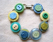 Bracelet Upcycled Vintage Buttons and Polymer Clay Tiles Blue Yellow Green