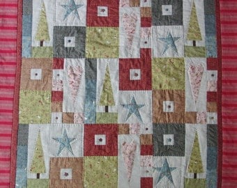 Folksy Christmas patchwork quilt KIT with fabric and pattern