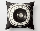 Vintage Camera pillowcase - Home Accessory with artwork  - Camera pillow case - black and white -