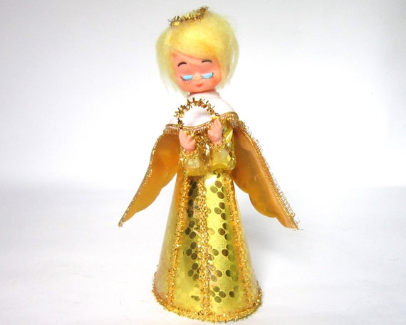 Vintage 1950s Angel Christmas Tree Topper Blonde Gold Foil