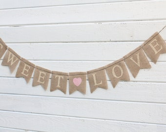 Sweet Love Glittered Burlap Banner Wedding Banner - Hearts